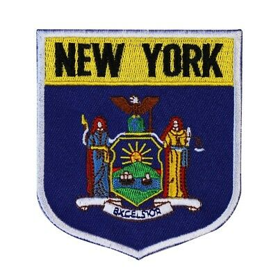 "State Flag Shield ""New York"" Iron-On Badge Patch Travel Souvenir Craft Applique"