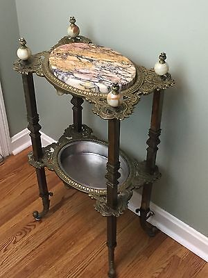 Antique Victorian Brass & Marble Top Plant Stand Hall End Table French Ornate