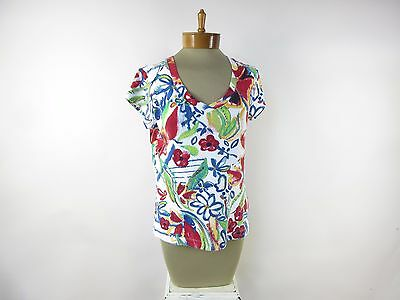 CHICO'S Women's Short Sleeve V Neck Shirt Top SIZE 1 Multi-Colored Floral