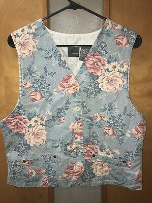 Vintage denim vest size Large Vtg 90's LizWear denim vest womens Floral Plaid