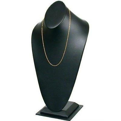 Black Faux Leather Necklace Bust Display 14 1/2""