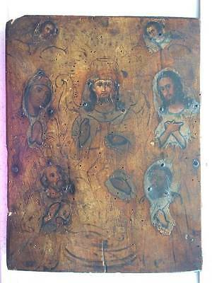 SEVEN SAINTS - ANTIQUE OLD RUSSIAN HAND PAINTED WOODEN ICON, 280mm x 220mm