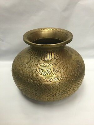 Antique Brass Urn Jug Bowl Hand Designed Egyptian Persian Middle Eastern