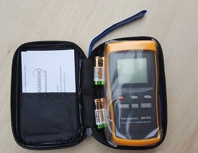 Type K Input 2-CHannel Hand Held Thermocouple Indicator Thermosense NEW