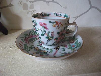 Antique Chinese Famille Rose  Porcelain Cup And Saucer,  19Th Century