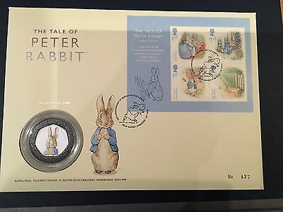 RARE 2016 BEATRIX POTTER PETER RABBIT SILVER PROOF 50p COIN PNC No 437/500