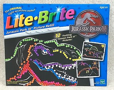 Lite-Brite Jurassic Park III Picture Refill 11 Pages Missing 1 Sheet 2001