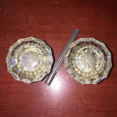 Vintage Antique Pair Of  Flutted Clear Glass Door Knobs