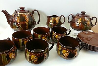 Royal Doulton Kingsware Darby & Joan Complete Tea Set Pot Cups Saucers 1902