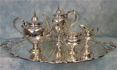 Antique Sterling Silver Tea & Coffee Set Brite Cut Engraving 60.8 OZT by Birks