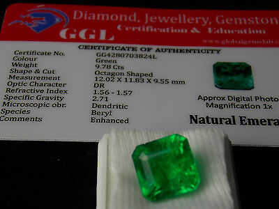 9.78 ct. Natural Certified Square Shape Colombian Emerald
