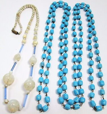 Long vintage Deco turquoise glass bead necklace + 1
