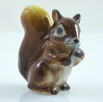 """Ceramic Squirrel Figurine Brown Handpainted approx 1.5"""" tall looks to right"""