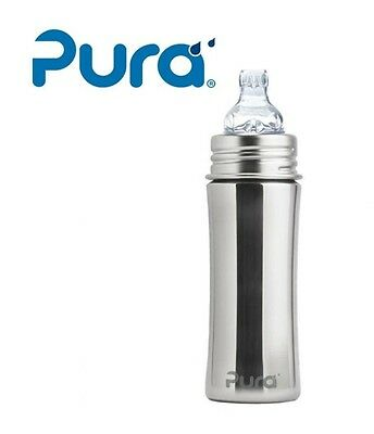PURA Kiki Stainless Steel Toddler Sippy Cup Bottle XL Sipper Spout 11oz Natural