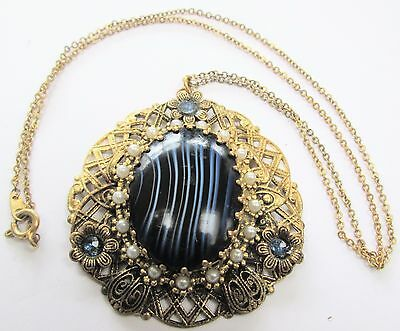 Large ornate vintage gold metal, sapphire paste & agate glass pendant + chain