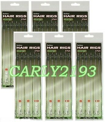 60 Carp Tench Barbel = Hair Rigs Barbless Size 6 8 10 - Carp Fishing Tackle Rigs