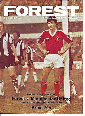 79/80 Notts Forest v Man Utd in Division 1 on 2nd April 1980 @ The City Ground