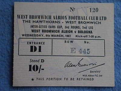 1966-7 West Bromwich Albion v Bologna Ticket