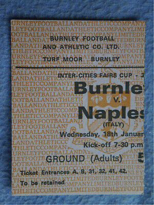 1966-7 Burnley v Napoli Fairs Cup Ticket