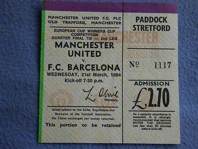 1983-4 Manchester United v Barcelona ECWC Ticket