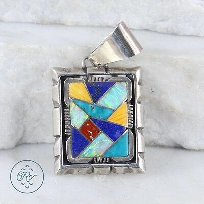 Sterling Silver | NAVAJO Multistone Opal Inlay Drop 13.7g | Pendant MW2413