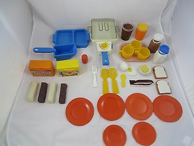 Vintage Fisher Price Fun With Food Lot Skillet Works Eggs Bacon Bottles Plates