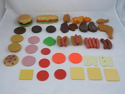 Vintage Fisher Price Fun With Food Lot Hot Dogs Hamburger Meat Cheese 1980s