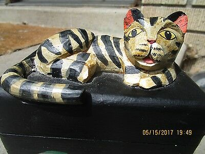 striped tiger cat box jewelry trinket hand carved vintage antique dreaming fish