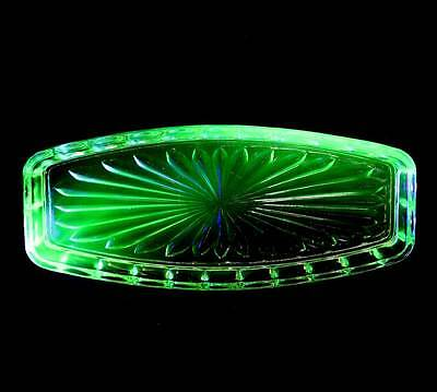 Vintage green uranium depression glass long serving platter 26cm