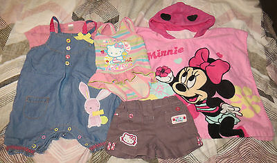 12-18 Girl Summer Bundle Next Dungarees Hello Kitty Minnie Mouse Shorts Swimsuit