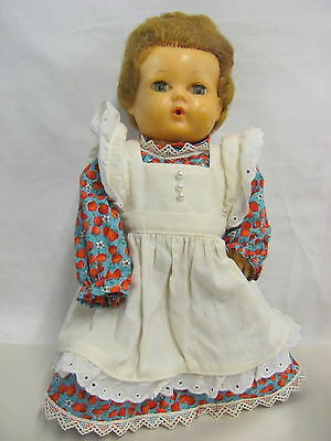 Vintage American Character Tiny Tears Doll w/ Pinafore Dress - As Is