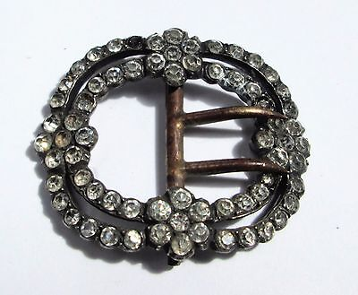 Good quality antique sterling silver & diamond paste flower design buckle
