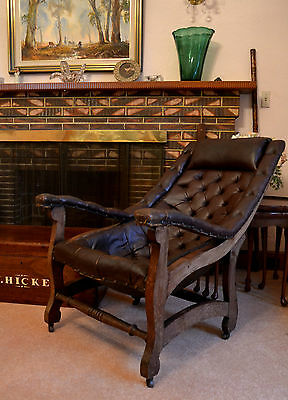 VICTORIAN LOUNGE CHAIR Library chair leather antique vintage