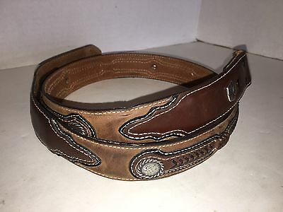 Larry Mahan Leather Size 38 Brown Unisex Western Belt W/Round Silver Conchos