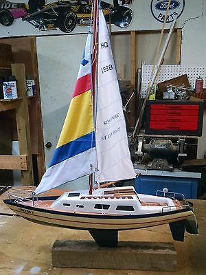 Vintage Plastic and wood Yacht Model Sailboat 26 x 36 Inches for real sailing