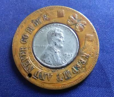 USA - copper ENCASED 1943S steel cent - MEMBER OF THE LUCKY COIN CLUB - VF