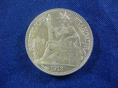 FRENCH INDO-CHINA - 1913 silver 10 Centimes - uncleaned original - XF