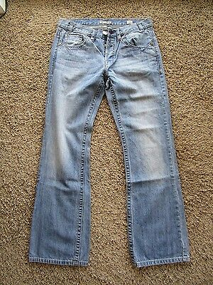 MEK Brant Bootcut Button Fly Lifted Logo Stitched Men's Jeans Pants Size 33 x 34