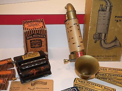 Vintage Bakelite Rolmonica musical harmonica & QRS Playasax with rolls + boxes