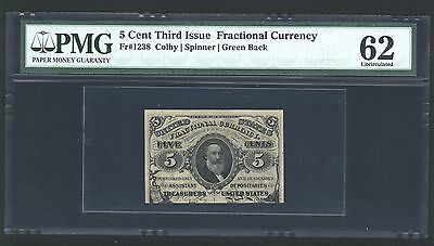 1864-69  5 Cent Fractional Currency Fr-1238 Certified By Pmg Uncirculated-62