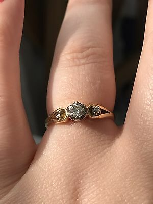 Gold And Diamond Ring UK Size Q/R
