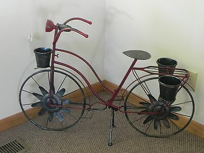 Bicycle Plant Stand ~ Wind Spinners ~ Solar Light ~ Metal Yard Garden Decor