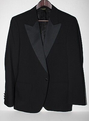 J.PRESS One Button PEAK Lapel Satin Black Formal Dinner Tuxedo Jacket Wool NR