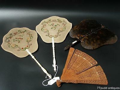 Lot Of Four Antique Chinese Fan, Ex Museum Collection