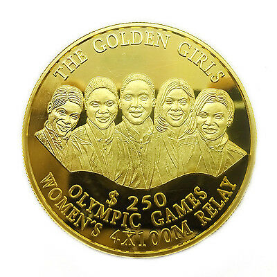 "2000 Bahamas Team ""The Golden Girls"" $250 Gold Coin Sydney Olympics"