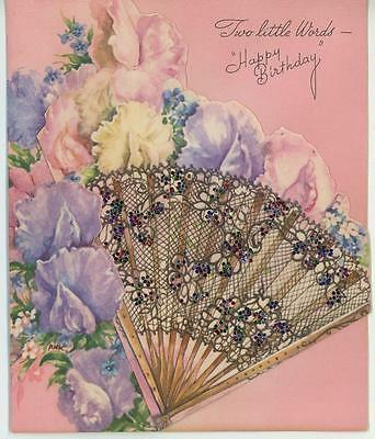 Vintage Sweet Peas Garden Flowers Eventail Fan Happy Birthday Card Art Old Print