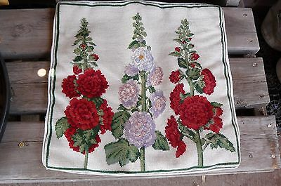 Vintage Wool Floral Needlepoint Embroidered Throw Pillow Crushed Velvet Cover