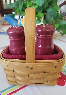 2003 Longaberger Salt & Pepper Basket, 2 Protectors, Fabric, Pottery Shakers Lot
