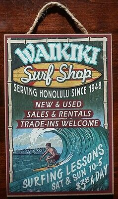 WAIKIKI SURF SHOP Surfing Lessons Beach Rustic Wood Surfer Home Decor Sign - NEW