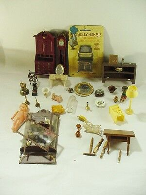 31 pieces Doll House items Furniture China Candlesticks Lamp +++ Celluloid Doll